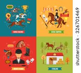 Stock vector  horse riding design concept set with jockey items race and stabling flat vector illustration 326701469