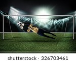 goalkeeper in gates jumping to... | Shutterstock . vector #326703461