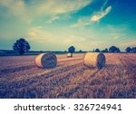 vintage photo of stubble field... | Shutterstock . vector #326724941
