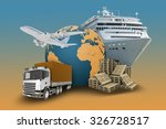 transport with planet and truck ... | Shutterstock . vector #326728517
