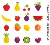 set of 16 fruit icons in flat...