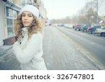 sports running girl in winter...   Shutterstock . vector #326747801