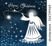 christmas card. angel and... | Shutterstock .eps vector #326749469