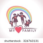 my family under the rainbow.  | Shutterstock .eps vector #326763131
