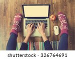 woman's hands typing on laptop... | Shutterstock . vector #326764691
