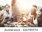diverse people friends hanging... | Shutterstock . vector #326785574