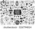 Stock vector vector set of hand drawn wedding elements set of ornamental wedding style elements arrows heart 326794814