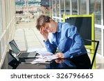 headache at workplace.... | Shutterstock . vector #326796665