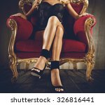 woman in lingerie sitting on an ... | Shutterstock . vector #326816441