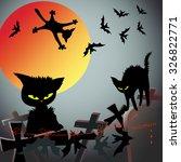 halloween  black cats hunt for... | Shutterstock . vector #326822771