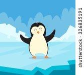penguin standing on ice flat... | Shutterstock .eps vector #326835191