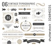 Retro vintage typographic design elements. Arrows, labels, ribbons, logos symbols, crowns, calligraphy swirls, ornaments and other. | Shutterstock vector #326840231
