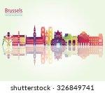 Brussels skyline detailed silhouette. Vector illustration