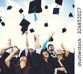 graduation caps thrown... | Shutterstock . vector #326852027