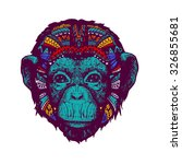 monkey multicolor doodle... | Shutterstock .eps vector #326855681