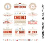 christmas typographic and... | Shutterstock .eps vector #326874029
