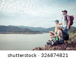happy family standing near the... | Shutterstock . vector #326874821