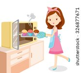 girl baking cupcake  kitchen ... | Shutterstock .eps vector #326877671
