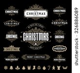 christmas typographic and... | Shutterstock .eps vector #326886089
