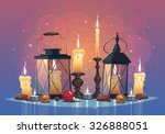 set of candles and lanterns.... | Shutterstock .eps vector #326888051
