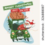 santa claus driving an old car. ... | Shutterstock .eps vector #326888087