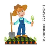 happy farmer is working in the... | Shutterstock .eps vector #326924345