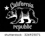 california republic bear in dirty texture style, texture is easy to remove - stock vector