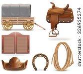 vector cowboy icons set 2 | Shutterstock .eps vector #326935274
