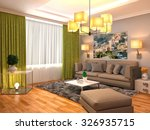 interior with brown sofa. 3d... | Shutterstock . vector #326935715
