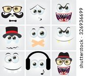 set of cartoon faces with... | Shutterstock .eps vector #326936699