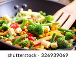 stir fried vegetables in the pan | Shutterstock . vector #326939069