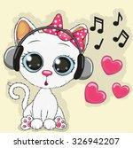 Stock vector cute cartoon cow with headphones 326942207