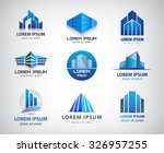vector set of 3d blue office...
