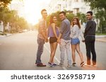 teenage friends walking... | Shutterstock . vector #326958719