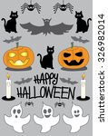 happy halloween pumpkin  ghosts ...   Shutterstock .eps vector #326982014