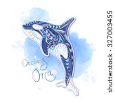 patterned orcinus orca on... | Shutterstock .eps vector #327003455