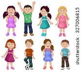 cute children cartoon collection | Shutterstock . vector #327006815