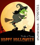 witch flying on a broom under... | Shutterstock .eps vector #327007211
