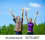 young people with hands up | Shutterstock . vector #32701807