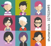 set of people icons in flat... | Shutterstock .eps vector #327023495