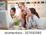 businesswoman showing something ... | Shutterstock . vector #327032585