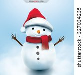 smiling snowman  high detailed... | Shutterstock .eps vector #327034235