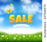 summer sale with grass and... | Shutterstock .eps vector #327036575