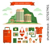 beach vacation concept and... | Shutterstock .eps vector #327037901