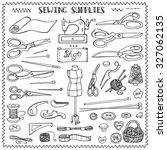 Sewing and needlework doodle icons set.Linear hand drawing sketch.Vintage isolated object.Vector hand made supplies,knitt equipment.Design template.