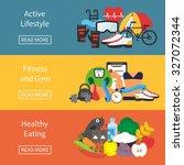 fitness and diet banner....   Shutterstock .eps vector #327072344