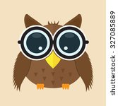baby owl with glass cartoon... | Shutterstock .eps vector #327085889