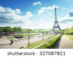sunny morning and eiffel tower  ... | Shutterstock . vector #327087821