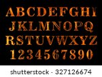 fire text. alphabet of fire.... | Shutterstock . vector #327126674
