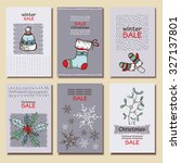 vector set. vintage cards with... | Shutterstock .eps vector #327137801